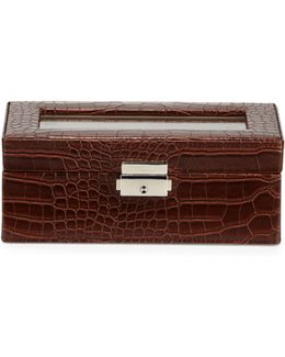 Crocodile-embossed Faux-leather Watch Box