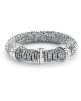 Micro-cable Pave Diamond Spring Coil Bracelet
