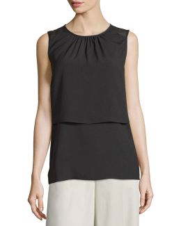 Sleeveless Tiered Crepe Blouse