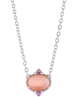 Allure Oval Pink Mother-of-pearl Doublet Pendant Necklace