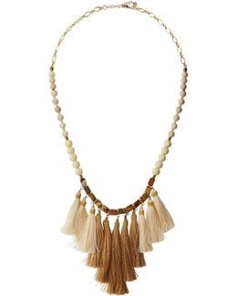 Long Beaded Stone Tassel Necklace