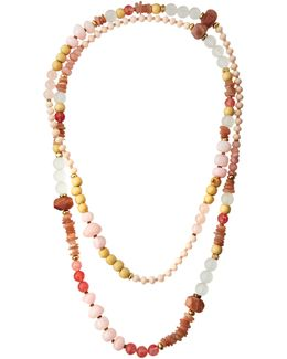 Long Mixed-stone Beaded Rope Necklace