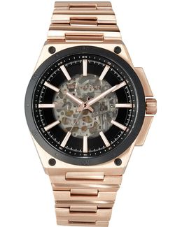 Wilder Rose Golden Stainless Steel Automatic Skeleton Watch
