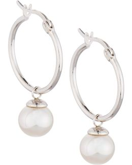 Sterling Hoop Earrings W/ Pearl Drop