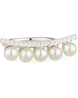 5mm White Round Organic Handcrafted Pearls, Cz Bar And Sterling Silver Ring
