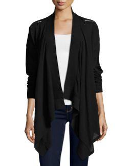 Zip-shoulder Open-front Cardigan