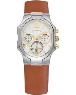 Large Classic Chronograph Watch W/ Calfskin Strap