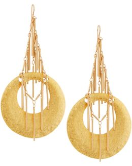 Hammered Golden Fringed Hoop Drop Earrings