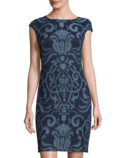 Embroidered-lace Sheath Dress