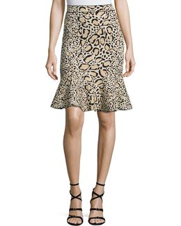 Leopard-print Flounce Skirt