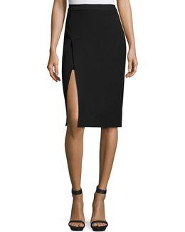 Asymmetric Slit Pencil Skirt