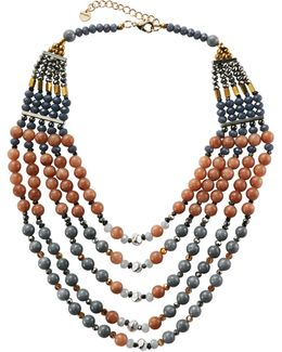 Multi-strand Agate & Crystal Beaded Necklace