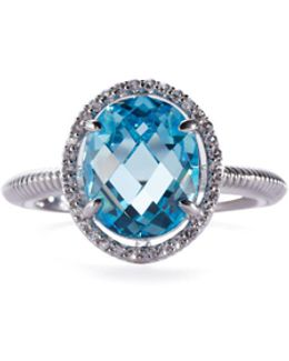 Oval Sky-blue Crystal & Sapphire Cocktail Ring