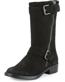 Log Suede Mid-calf Bootie