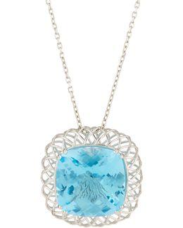 Ipanema 18k White Gold Blue Topaz Pendant Necklace