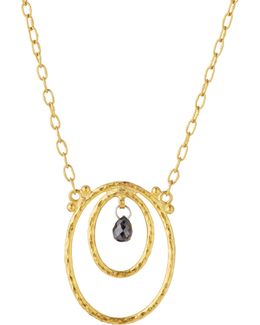 Glow 24k Double-oval & Black Diamond Pendant Necklace
