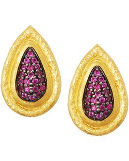 Moonshadow 24k Pave Ruby Teardrop Earrings
