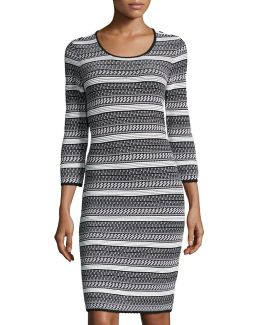 Miriam Striped Knit 3/4-sleeve Dress