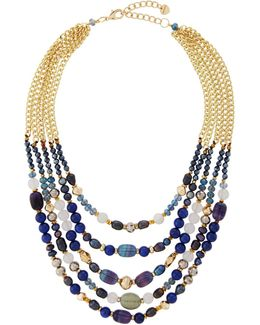Multi-strand Agate Beaded Collar Necklace