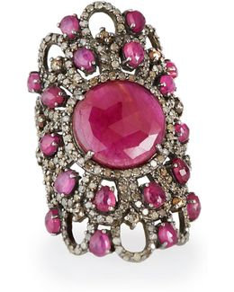 Sterling Silver Ruby Statement Ring With Diamonds