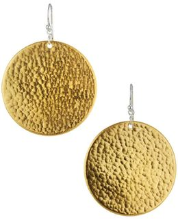 Flake Large Hammered Disc Drop Earrings