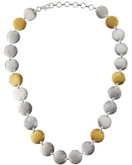 Flake Silver & 24k Disc Necklace