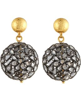 Celestial Pastiche Two-tone Diamond Slice Drop Earrings