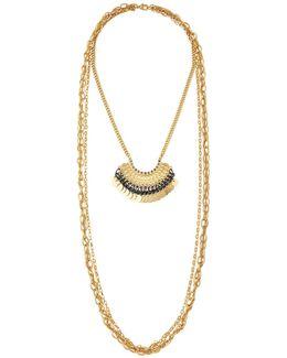 Triple-strand Multi-media Layered Necklace