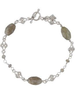 Labradorite & Diamond Scroll Bracelet
