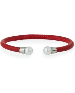 Red Leather & Pearl Bangle Bracelet