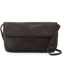 Tristan Metallic Leather Woven Clutch Bag