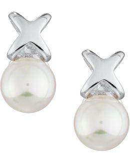 Infinity Pearl Stud Earrings