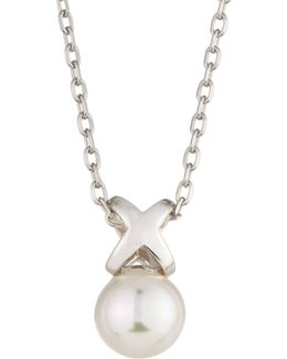 Sterling Silver Infinity Pearl Pendant Necklace