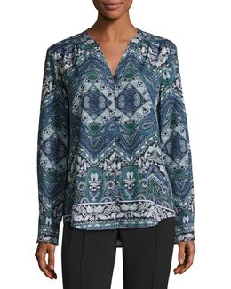 Long-sleeve Paisley-print Blouse