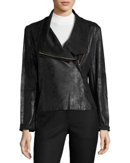Faux-leather Asymmetric-zip Jacket
