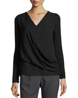 Jersey Chiffon-overlay Long-sleeve Top