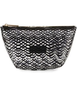 Squiggle-stripe Clear Pouch Bag