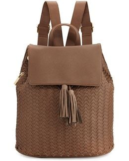 Woven Saffiano Tassel Backpack