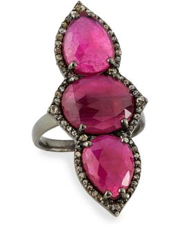 Triple Composite Ruby & Diamond Cocktail Ring