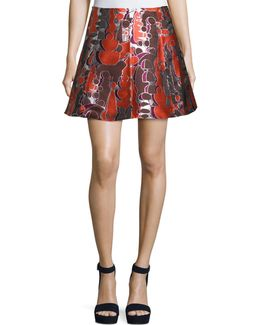 Dakota Topiary-print Flared Skirt