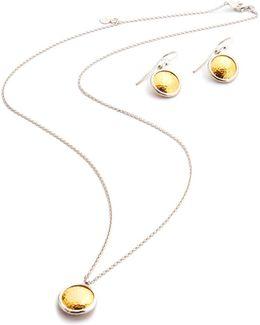 Amulet Round Pendant Necklace & Drop Earrings Set