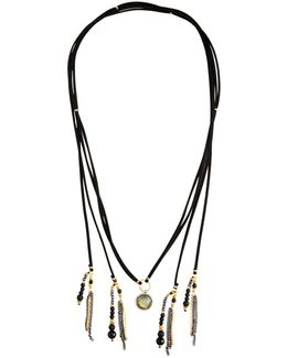 Long Tasseled Labradorite Choker Lariat Necklace