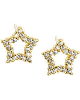 Golden Cz Star Stud Earrings