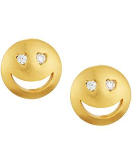 Cz Heart-eye Emoji Stud Earrings