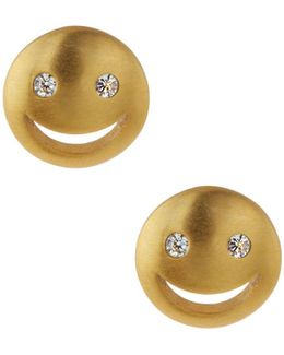 Cz Smiley Stud Earrings