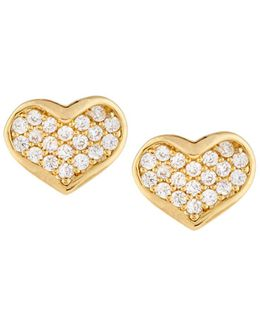 Golden Cz Heart Stud Earrings