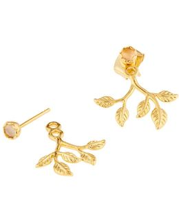 Golden Crystal Leaf Jacket Earrings