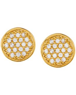 Golden Cz Disk Stud Earrings