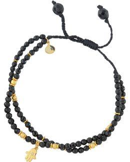 Spinel Beaded Bracelet W/ Hamsa Charm