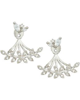 Silvertone Mixed Cz Crystal Leaf Jacket Earrings